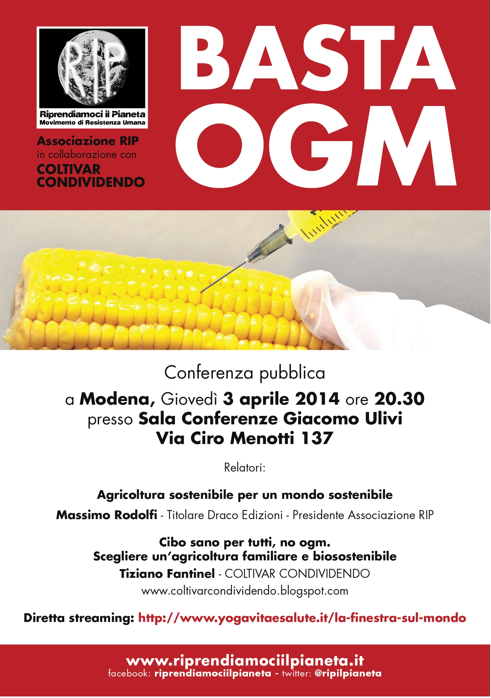 Modena 3 Aprile BastaOGM