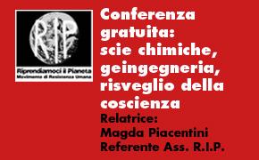 """Reggio Emilia 27 Maggio: """"SCIE CHIMICHE, GEOINGEGNERIA, RISVEGLIO DELLA COSCIENZA"""""""