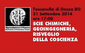 """Toscanella di Dozza (BO) 21 Settembre: """"SCIE CHIMICHE, GEOINGEGNERIA, RISVEGLIO DELLA COSCIENZA"""""""