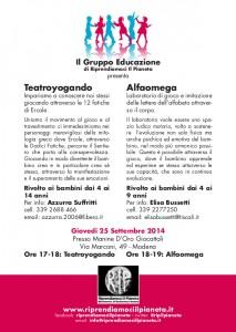 Modena, 25 Settembre 2014 Teatroyogando & Alfaomega Fronte new