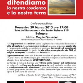 """Bologna, 29 Marzo 2015: """"Scie chimiche – geoingegneria – difendiamo la nostra coscienza e la nostra terra"""""""