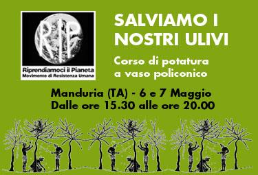 Manduria, 6-7 Maggio 2015: SALVIAMO I NOSTRI ULIVI – Corso di potatura a vaso policonico