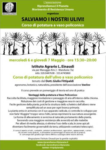 RIP_ Eventi - Puglia - Manduria, 6-7 Maggio 2015_ SALVIAMO I NOSTRI ULIVI - Corso di potatura a vaso policonico