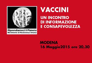 """Modena, 16 Maggio 2015: """"VACCINI""""- Un incontro di informazione e consapevolezza"""