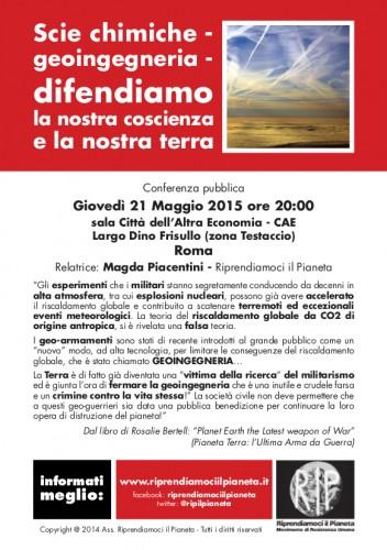"""Roma, 21 Maggio 2015: """"Scie chimiche - geoingegneria - difendiamo la nostra coscienza e la nostra terra"""""""