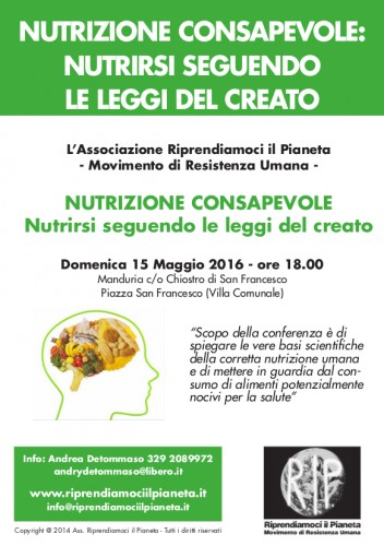 Manduria (TA) 15 Maggio 2016_ NUTRIZIONE CONSAPEVOLE Fronte