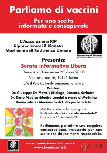 PARLIAMO DI VACCINI - Torino, 13 Novembre 2016