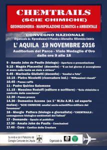 Chemtrails (Scie Chimiche) – Convegno Nazionale a L'Aquila, 19 Novembre 2016