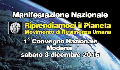 Comunicato Stampa Manifestazione di Riprendiamoci il Pianeta al 1° Convegno Nazionale, Modena 3 dicembre 2016