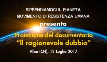"""Proiezione del documentario """"Il ragionevole dubbio"""" – Alba, 12 Luglio 2017"""