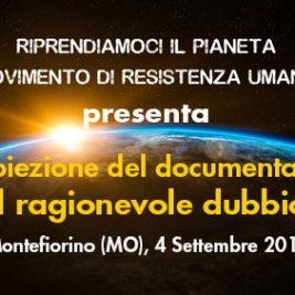 """Proiezione del documentario """"Il ragionevole dubbio"""" – Montefiorino (MO), 4 settembre 2017"""