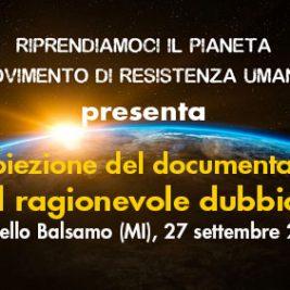 """Proiezione del documentario """"Il ragionevole dubbio"""" – Cinisello Balsamo (MI), 27 settembre 2017"""