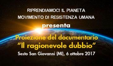 """Proiezione del documentario """"Il ragionevole dubbio"""" – Sesto San Giovanni (MI), 6 ottobre 2017"""