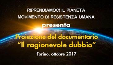 """Proiezione del documentario """"Il ragionevole dubbio"""" – Torino, ottobre 2017"""