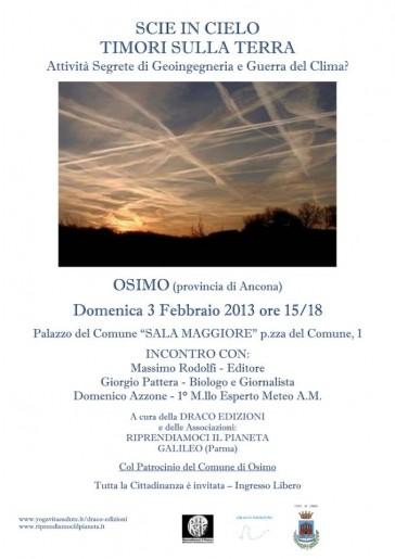 "Osimo (AN) 3 Febbraio 2013 – Conferenza ""Scie in cielo timori sulla Terra"""