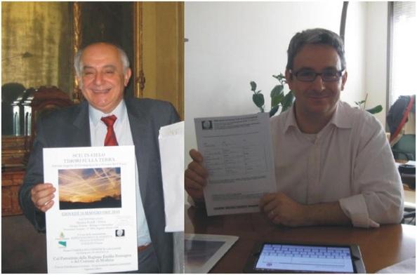 Consegna Petizione Scie Chimiche - Modena - Maggio 2012